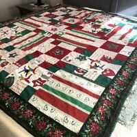 "Vintage Handmade Christmas Patchwork Quilt 67""x80"" Twin Repair or Cutter Craft"