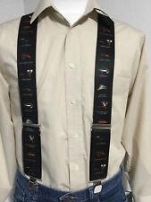 "New, Men's, Fishing Flies on Black, XL, 2"", Adj. Suspenders / Braces, Made n USA"