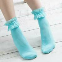 Ankle Socks Vintage Lace Ruffle Frilly Princess Woman Solid Color Cotton Socks