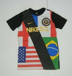 NIKE FC World Cup Flags SOCCER T-SHIRT Football France Brazil Usa Sz YOUTH XS