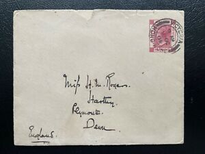 Hong Kong 1904 QV 4c GPO EN4 Postal Stationery Envelope Cover Used to England