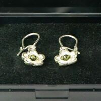 925 Sterling Silver Baltic Amber Droop Dangle Earrings Gift for women Green