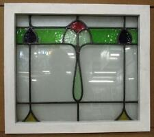 "OLD ENGLISH LEADED STAINED GLASS WINDOW Pretty Abstract Design 21.25"" x 18.75"""
