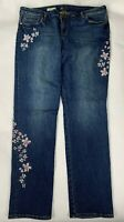 Kut from the Kloth Catherine Boyfriend Sz 16 x 31.5 Long Faded Jeans Embroidered