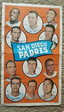 VINTAGE 1969 TOPPS POSTER OF SAN DIEGO PADRES. GOOD SHAPE.