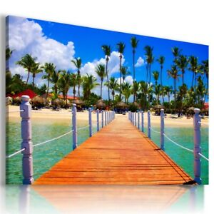 BEACH SEA PIER SUNSET View Canvas Wall Art Picture Large L301 UNFRAMED-ROLLED