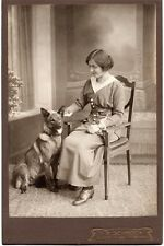 GERMAN SHEPHERD DOG beside her Lady TOP quality antique CAB CABINET CARD photo