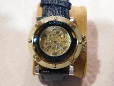 Akribos XXIV AK41380 Automatic Skeleton Blue Leather Band Mens watch
