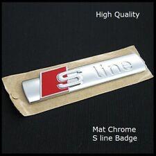 Audi S line Matt Chrome Badge Rear Boot Emblem Decal Sticker Side Wing Fender