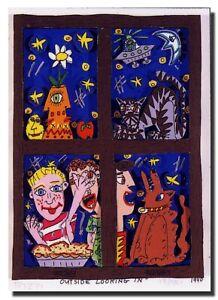 "James Rizzi ""OUTSIDE LOOKING IN"" Magnet / Magnetschild nach 3D-Konstr. v. 1981"