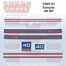 1989-91 Evinrude 40 HP Outboard Reproduction 10 Pc Marine Vinyl Decals Non VRO