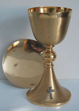 """NICE GOLD PLATED CHALICE AND PATEN SET """"V"""" #550 (CHURCH, RELIGIOUS CO.)"""