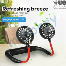 Portable Hanging Neck Cooling Sports Fan Lazy USB Rechargeable Personal Mini US