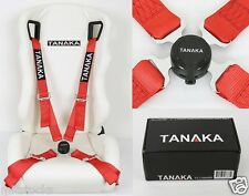 """TANAKA RED 4 POINT CAMLOCK QUICK RELEASE RACING SEAT BELT HARNESS 2"""" FIT ACURA"""