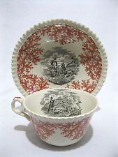 COPELAND SPODE English Hunt Scene 2-Color Red & Black transfer ware cup saucer