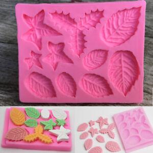 Holly Leave Silicone Fondant Mould Cake Tree Flowers Leaf Decorating Baking Mold
