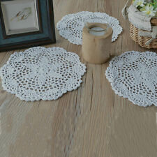 3PCS Craft Handmade Crochet Cotton Round Lace Doily Coasters Tablecloth Flower