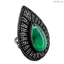 925 Sterling Silver Diamond Pave Jewelry New Emerald Gemstone Pear Cocktail Ring
