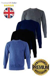 Mens Warm Heavyweight Sweatshirt Pullover Crew Neck Jumper Work Top. UK Seller