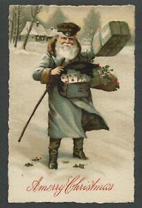 c.1910 SANTA CLAUS POSTMAN MAILMAN Germany SB Special Lithograph X-Mas Postcard1