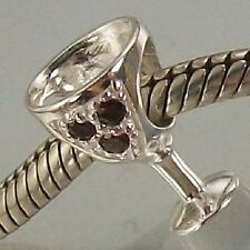 925 STERLING SILVER dark red CZ WINE GLASS European slide on CHARM BEAD