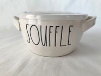 """Rae Dunn - Ceramic """"SOUFFLE"""" Bowl with venting lid - NEW"""