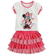 DISNEY STORE MINNIE MOUSE TOP & SKORT SET GIRLS SIZE 4 GLITTER ACCENT NWT