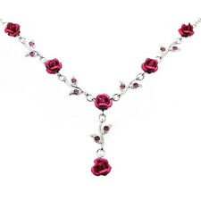 w Swarovski Crystal ~Hot Pink Rose Flower Floral Bridal Wedding Jewelry Necklace