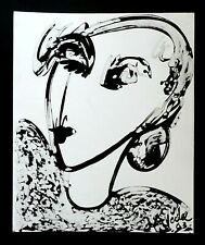 France Outsider Art Ink Wash Portrait Painting Sexy Woman Claude Vedel (EtJ)#41