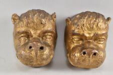 f43u15- Paar Zierelemente Köpfe, Holz geschnitz und vergoldet, 17.Jh.