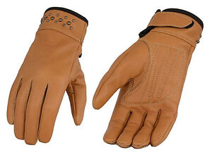Ladies Camel Premium Lined Leather Riding Gloves Driving Motorcycle Biker Tan