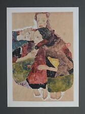 Egon Schiele Lichtdruck Lithograph Signed Group of three girls 1911 Drei Mädchen
