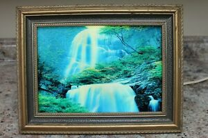 VINTAGE LIGHTED WATERFALL MOTION PICTURE W/ BIRD SOUNDS 12 X 9 1/2 - NOISY MOTOR