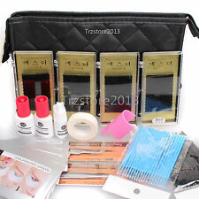 DIY Eyelash Extensions Strip Under Patch Eye Pad Case Kit Beauty with Glue Tool