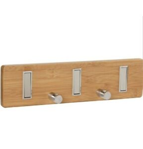 Household Essentials Bamboo Wall Coat Hat Key Rack Natural And Steel