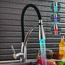 LED Kitchen Sink Mixer Taps Swivel Spout Pull Out Basin Tap Chrome Black Faucet