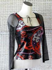 CUSTO BARCELONA~SPAIN~Art-to-Wear Paillette Graphic & Crochet Sexy Stretch Top~S