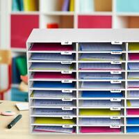 30-slot white classroom file organizer
