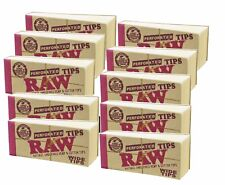 10 PACKS RAW WIDE ROLLING PAPER FILTER TIPS PERFORATED HEMP NATURAL 1.0 KING 1.
