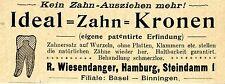 R. Wiesendanger Hamburg eigene patentierte Erfindung Zahn- Kronen Reklame v.1897