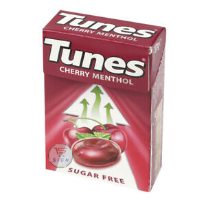 TUNES CHERRY MENTHOL SUGAR FREE COUGH THROAT SWEETS 37g ( 5, 10 PACKS)