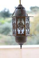 Antique Rare ottoman Brass and Glass Lantern Islamic Mosque Hanging Ramadan