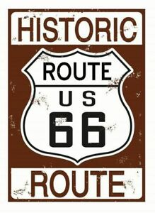 Historic Route 66 Medium Metal Sign 200mm x 300mm (sf)