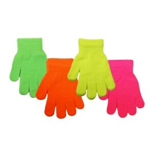Kids Girls Boys Neon Gloves Bright Colours Fluorescent Thermal Stretch Glove