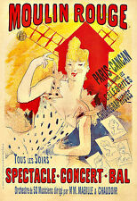 Art Ad Moulin Rouge   Paris Cancan  1890  Deco Poster Print