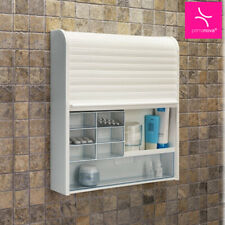 Modern TAMBOUR Shutter Wall Mounted BATHROOM CABINET Medicine Drawers White Unit
