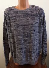 Abercrombie & Fitch Mens 2XL XXL Space Dye Pullover Sweater Cotton Blend Blue