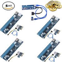 5X USB 3.0 PCI-E Express 1x to 16x GPU Extender Riser Card Adapter 6pin Cable MX