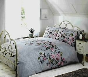 Bird Floral Shabby Chic Duvet Cover Set Single Double King Grey