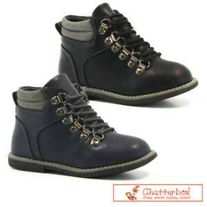 BOYS KIDS CHATTERBOX BOOTS CASUAL FAUX FUR WARM LACE UP WINTER ANKLE SHOES SIZE